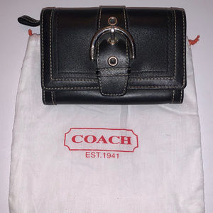 Coach blk leather wallet